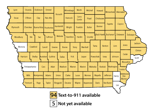 Map of Iowa counties where Text-to-911 service is available for customers of AT&T, i-Wireless, Sprint, T-Mobile, U.S. Cellular, and Verizon. Click to access a PDF of this map.
