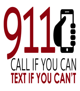 Text-to-911 logo: Call if you can, text if you can't